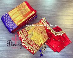 Stunning red color designer blouse with pattu sleeves. Blouse with hand embroidery kasu work. Wedding Saree Blouse Designs, Pattu Saree Blouse Designs, Wedding Blouses, Latest Maggam Work Blouses, Kids Blouse Designs, Hand Work Design, Maggam Work Designs, Designer Blouse Patterns, Diana