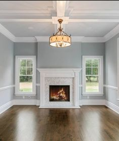 Gas fireplace with herringbone marble tile and simple mantle - Modern Fireplace