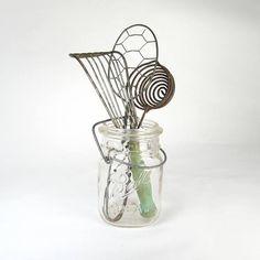 Ball Jar with Vintage Kitchen Utensils Farmhouse Decor