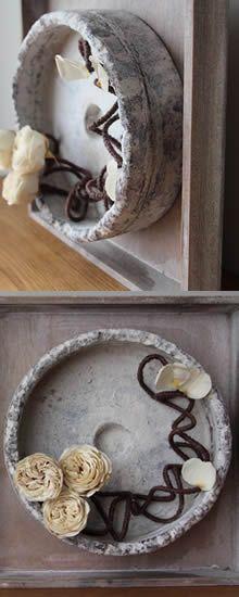 Gestabiliseerde rozen in een recipiënt behandeld met Powertex en Stone Art