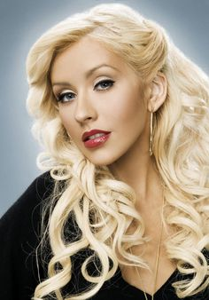 Christina Aguilera with  long gorgeous blond curly hair