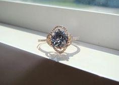 Halo Aquamarine Diamond Ring Gemstone Engagement Ring Custom Round Double Halo Setting 14K Rose Gold