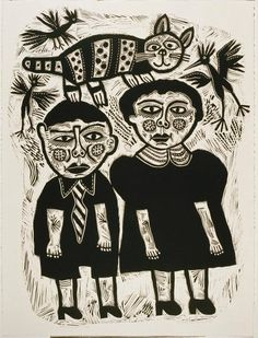 Lino Print by Barbara Hanrahan (This original print is at the Naracoorte Art Gallery in South Australia)