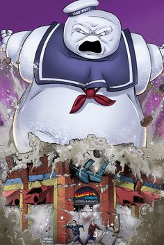 Ghostbusters Stay Puft Destroying Curious Comics in Victoria B.C.- Thanks to Dan Schoening!