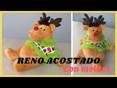 RENO ACOSTADO CON MOLDES - YouTube Primitive Doll Patterns, Deer Pattern, Christmas Deer, Santa, Make It Yourself, Handmade, Youtube, Christmas Sewing, Feltro