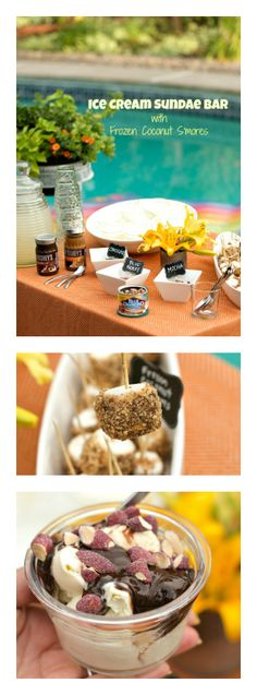 Ice Cream Sundae Bar with Frozen Coconut S'mores   ReluctantEntertainer