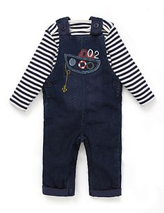 2 Piece Boat Appliqué Dungaree & Bodysuit Outfit | M&S