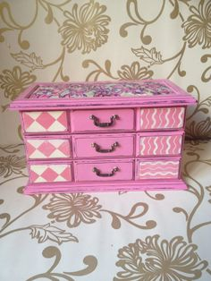 Vintage Wooden Jewellery Box - Jewelry Box- Shabby Chic Jewellery…