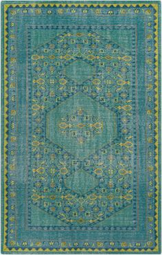 Zahra Teal Lime Gold Area Rug
