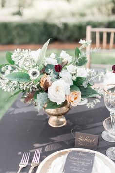 Beautiful burgundy, white, green + gold centerpieces!  | Charlotte wedding, Charlotte wedding vendors, NC wedding, NC wedding vendors, wedding planning, classic, black and gold, classic wedding day | Photographer @yessicagracephoto Venue @dukemansion Attire @happilyeverborrowed + @haydenoliva
