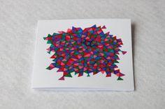 Bright Origami Geometric Pattern Card by Liucija Textiles
