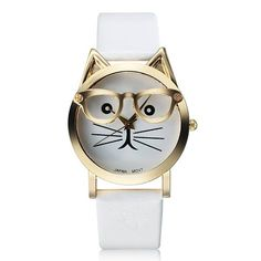 Fashion Casual Cat With Glasses Round Dial PU Leather Band Women Quartz Wrist…