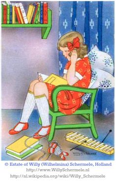 © Estate of Willy (Wilhelmina) Schermele (Artist & Author. Holland,  1904-1995).  Little girl reading in her room.