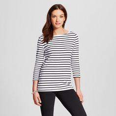 Women's Striped 3/4 Sleeve Boatneck Tee - Merona™ - Fresh White