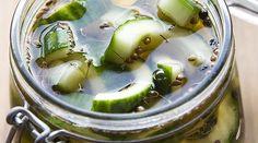 Opskrift syltede agurker | Pickles, Cucumber, Food And Drink, Desserts, Marmalade, Tailgate Desserts, Deserts, Postres, Dessert