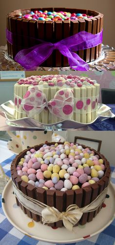 Kit Kat bars create a basket to hold candy. I like Kit Kat bars for fences -you can pile all kinds of things on cakes!