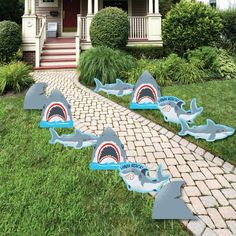 Shark Zone - Shark and Fin Lawn Decorations - Outdoor Jawsome Shark Viewing Week Party or Birthday Party Yard Decorations - 10 Piece Outdoor Christmas Decorations, Lawn Decorations, Shark Party Decorations, Field Day Games, Yard Party, Big Dot Of Happiness, Boy Birthday Parties, 2nd Birthday, Birthday Ideas