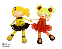 Bumblebee Ladybug PDF Doll Sewing Pattern  by DollsAndDaydreams