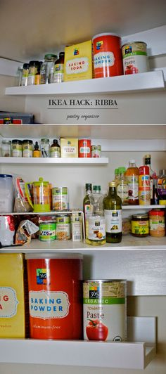 ikea hack: ribba picture ledge into pantry organizer // kitchen organization and storage
