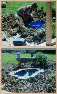 Backyard ideas on pinterest backyards fire pits and fence for Plastic yard ponds