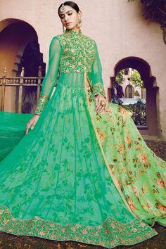 Mint #green multicoloured silk enthralling floor length flairy #lehenga with madarin #collar -GC396