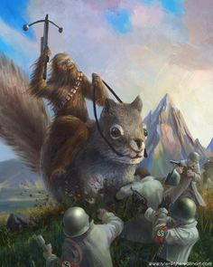 Chewbacca fighting Nazis while riding a squirrel