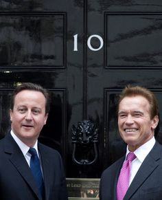 David Cameron hanging out with Arnie.
