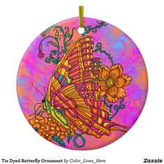 Tie Dyed Butterfly Ornament