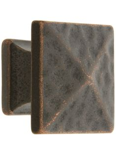 "Oil Rubbed Bronze Kitchen Knobs. Hammered Pyramid Style Cabinet Knob - 1 1/8"" Square"
