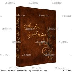 Scroll Leaf Faux Leather Story of Our Wedding 3 Ring Binder
