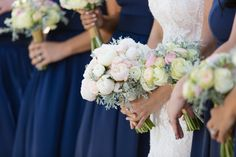 Beautiful wedding flower boquets that were donated by the bride and groom to a nursing home the celebration via RepurposedRose.org - Photo by Olivia Smartt Photography