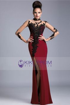 2016 Burgundy/Maroon High Neck Prom Dresses Spandex With Applique Long Sleeves