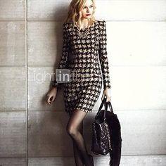 Sobre la rodilla - Vestido - Sexy/Bodycon/Casual - Mezclas de Algodón - USD $ 27.99