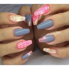 Glitter coffin nails summer 2016 nail art