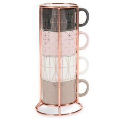MODERN COPPER 6 faience coffee cups + holder