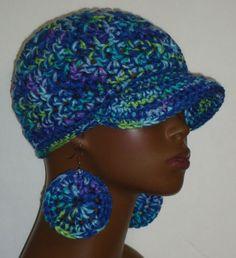 Macy Blue Mix Chunky Crochet Baseball Cap with Disc Earrings by Razonda Lee Razondalee