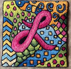 'Zentangle' Hooked Pillow Idea :: Woolen Tales Rug Art blogspot