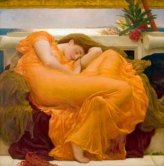 """Sir Frederic Leighton British / """"Flaming June,"""" c. oil on canvas / Museo de Arte de Ponce, Ponce, Puerto Rico .""""[based] pose on Michelangelo's sculpture """"Night"""" and on a copy of his lost painting """"Leda and the Swan"""""""" Leighton House Museum, Frederick Leighton, Puerto Rico, Oil On Canvas, Canvas Art, Canvas Canvas, Painting Canvas, Woman Painting, Painting Prints"""