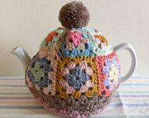 GRANNY SQUARE Tea Cosy Pattern / Tutorial. PDF file instant Download. Tea Cozy. tea Pot Cover. Crochet.