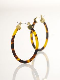 Large Tortoise Hoop Earrings / Tortoise/Gold / $38.00