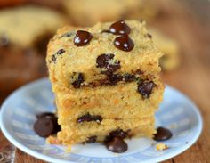 Moist and Chocolatey Sweet Potato Blondies-- ⅓ cup coconut oil, softened but not melted ⅓ cup maple syrup ½ cup sweet potato puree 2 eggs 2 cups blanched almond flour 3 T coconut flour ½ t baking soda ½ t salt ½ cup dark chocolate chips Paleo Dessert, Healthy Desserts, Dessert Recipes, Paleo Treats, Healthy Food, Paleo Cookies, Dessert Bars, Healthy Cooking, Yummy Treats