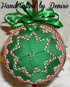 Christmas 2014 ~ quilt looking fabric ornament Handcrafted by Denise