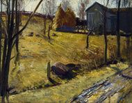 Haystacks and Barn 1909 by George Wesley Bellows
