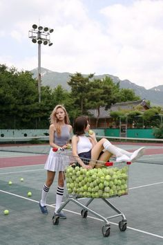 Location interior shoot casual fashion store tennis sports cart props