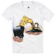 Shirts That Go Little Boys' Yellow Excavator T-Shirt.  Perfect shirt for kids who love construction trucks and big vehicles. Great for a birthday party or construction-themed event.