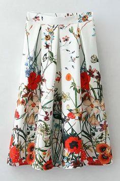 Flower Printed High Waisted Pleated Skirt
