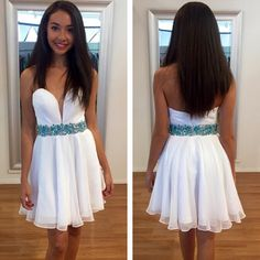 High quality prom dress,sweatheart neck prom dress, homecoming prom dress,short prom dress,white prom dress,beautiful beading prom dress,Elegant Women dress,Party dress L464