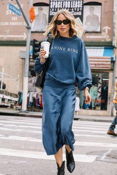 Slip silk skirt steel blue real silk slip midi a-line skirt women skirt clasic bias cut slip skirt trends fall outfits silk satin skirt Sweaters Outfits, Outfits Otoño, Fall Outfits, Casual Outfits, Fashion Outfits, Womens Fashion, Cruise Outfits, Fashion Clothes, Fashionable Outfits