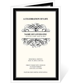 Elegant Monogram Style Memorial Service Programs: Signature Monogram Template