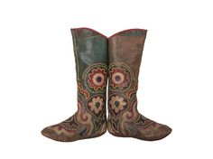 Antique leather boots with vegetable colors: Late 19th C. from Central Asia - Kyrgyzstan